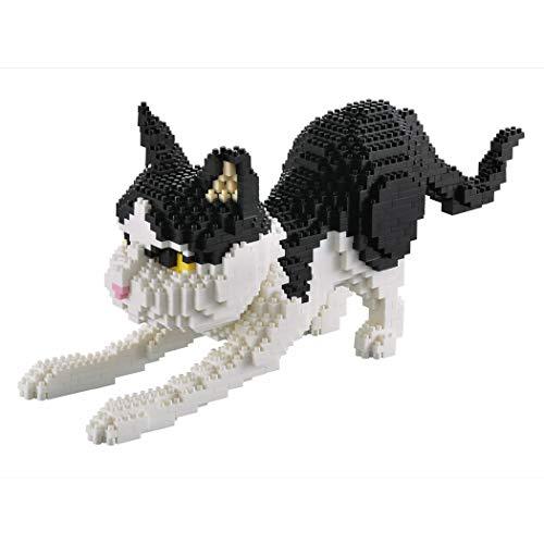 Gato agazapado. Figura para armar con Bloques en Miniatura. 1390 Piezas.