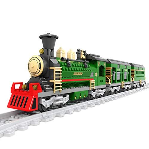 WEERUN City Tren con Pista Set de Construcción, Tren Navidad Maqueta de Juguete Tren Juguete Educativo,666 Piezas Bloques -Compatible con Las Principales Marcas