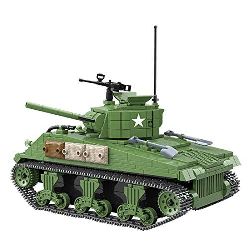 Tanques Militares Modelo de Bloques de Construcción, ColiCor 726pcs WW2 Motor V12 Tanque Sherman M4A1 Modelo, Juguetes del Tanque del Ejército para niños y Adultos, Compatible con Lego