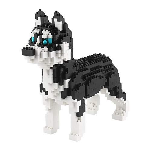 Larcele 950 Piezas Mini Perro Bloques de Construcción Animal Favorito Construyendo Ladrillos de Juguete KLJM-02(Husky)