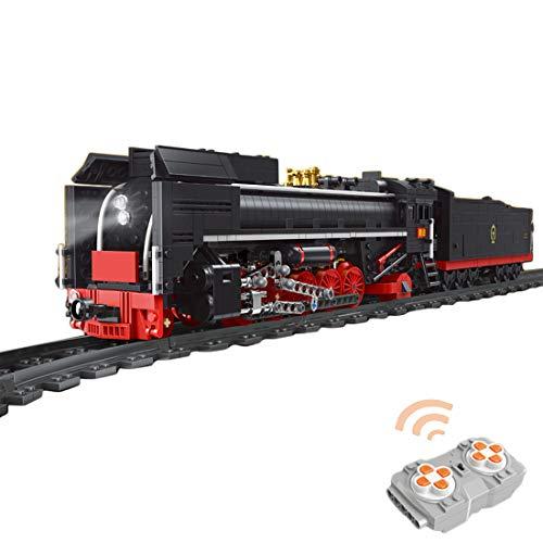 WEERUN Technic City Tren a Vapor Tren de Locomotora Set de Construcción, Maqueta de Juguete Tren de Vapor Control Remoto con Luz y Rieles, 1552 Piezas Bloques - Compatible con Lego Technic