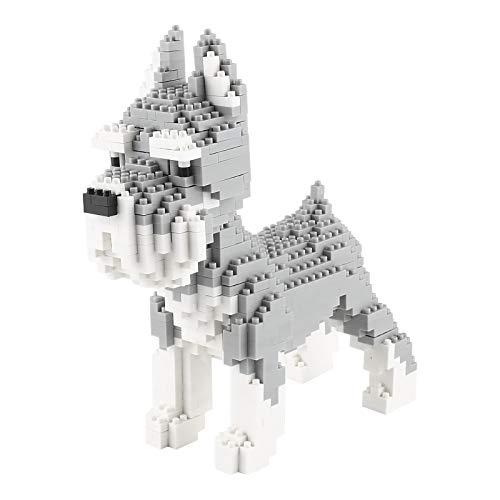 Larcele 880 Piezas Mini Schnauzer Perro Bloques de Construcción Animal Favorito Construyendo Ladrillos de Juguete KLJM-02(Schnauzer)