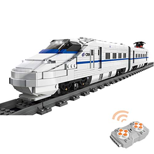 WEERUN City Tren de Alta Velocidad con Pista Set de Construcción, 1808 Piezas 2.4 G Tren Control Remoto Navidad Maqueta de Juguete Tren con Motor y Faros - Compatible con Las Principales Marcas