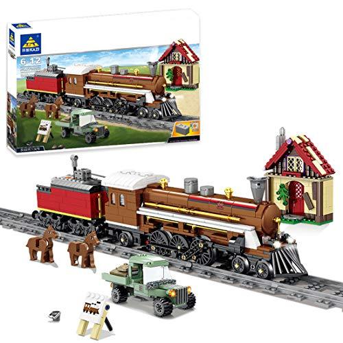 WEERUN City Tren con Pista Set de Construcción, 848 Piezas Tren Electrico Navidad Maqueta de Juguete Tren Agrícola con Motor, Luz y Música - Compatible con Las Principales Marcas
