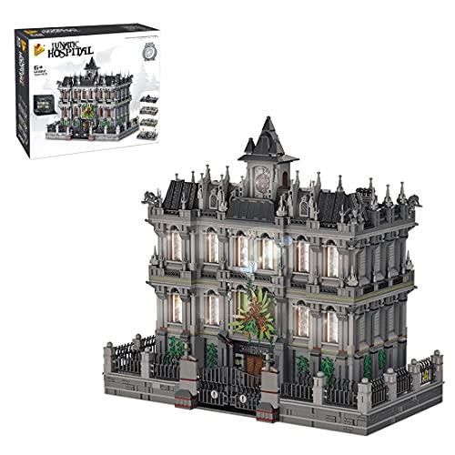 BGOOD Panlos 613002 Arkham Asylum, 7537 bloques de construcción Sanctum Sanctorum con iluminación, arquitectura, casas, modelo compatible con Lego