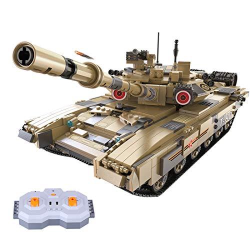 BGOOD Tanque de ingeniería teledirigido Juego de construcción de 1689 piezas RC Rusia T-90 tanque militar WW2 para niños y adultos, compatible con Lego Technic