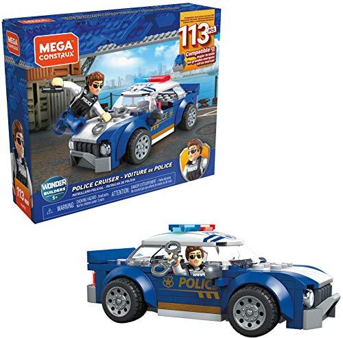 Mega Construx- Coche de Policia, Juguete de Bloques de construcción para niños + 5 año (Mattel GLK52)