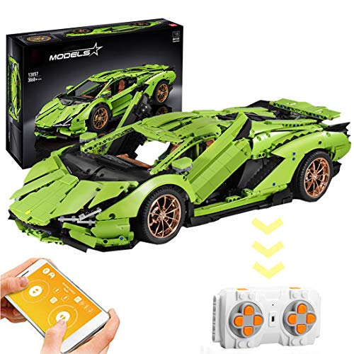 WEERUN Technic Coche Deportivo Teledirigido para Lamborghini Centenario, 1: 8 2.4G RC Coche con Luz Nocturna Juguetes de Construcción, 3868 Piezas Bloques - Compatible con Lego Technic