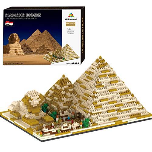 BGOOD Juego de construcción de pirámide de 1456 bloques de construcción con sujeción, pirámide de Egipto, arquitectura 3D Nano Micro Blocks, juguete de construcción para niños y adultos