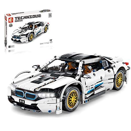 HYZM Technic Sports - Bloques de construcción para coche, 1:14 BM W I8, compatible con Lego Technic – 1270 piezas