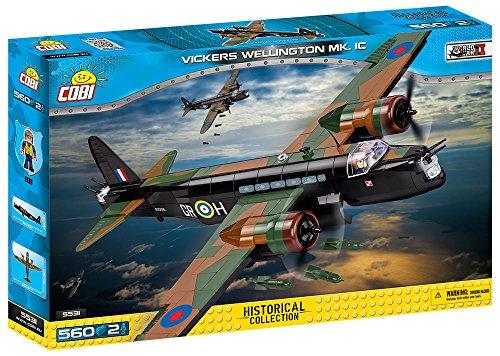 COBI- Vickers Wellington MK. IC, avión, Color Negro, Verde y marrón (5531)