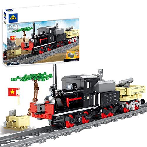 WEERUN City Tren con Pista Set de Construcción, 379 Piezas Tren Electrico Navidad Maqueta de Juguete Tren de Militar con Luz y Música - Compatible con Las Principales Marcas