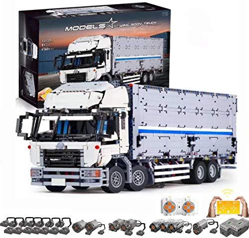 YZHM Bloques de construcción de Camiones técnicos HYZM, 4166pcs 4ch RC Truck con Puerta de contenedor con 8 Motores - Kit de construcción Compatible con Ladrillos Lego