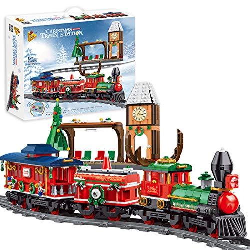 WEERUN City Tren de Navidad Eléctrico Set de Construcción, 1217 Piezas Navidad Maqueta de Juguete Tren de Vapor Eléctrico con Motor, Estación, Compatible con Las Principales Marcas