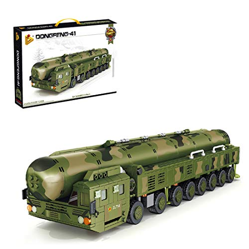 HYZM Bloques de construcción de modelo militar, 1149 piezas de vehículos de misiles nucleares DF-41 WW2 Camión militar, kits de construcción compatibles con Lego Technic