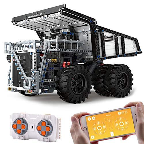 WEERUN Technic Camión Volquete Teledirigido Set de Construcción de Vehículo, 2044 Piezas 2.4G RC Camión con 4 Motores Juguetes de Construcción Compatible con Lego Technic