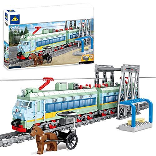 WEERUN City Tren con Pista Set de Construcción, 1162 Piezas Tren Electrico Navidad Maqueta de Juguete Tren Expreso con Motor, Luz y Música - Compatible con Las Principales Marcas