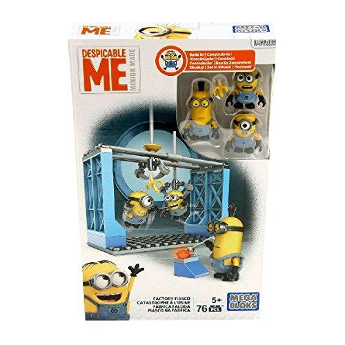 Mega Bloks - Juego de 3 Figuras de los Minion's con Accesorios - Factory Fiasco (Dkx76).