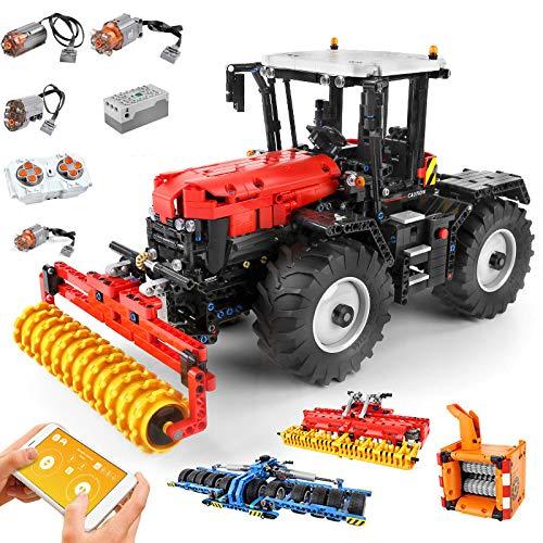 BGOOD Juego de construcción para tractor de ingeniería, 4 en 1, Mould King 17020, 2716, bloques de sujeción, tecnología de control remoto con motor y mando a distancia, compatible con Lego Technic