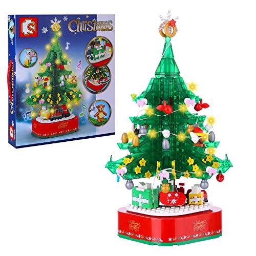 HYZM Architecture Modelo de árbol de Navidad giratorio con bloques de construcción musical, 486 piezas Mini Nano Ladrillos Juego de construcción modular, regalo para niños adultos y niños