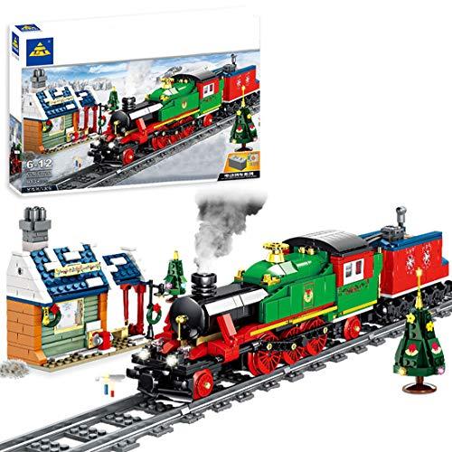 WEERUN City Tren a Vapor Tren Electrico Set de Construcción, 913 Piezas Navidad Maqueta de Juguete Tren de Locomotora con Motor, Luz y Música - Compatible con Las Principales Marcas