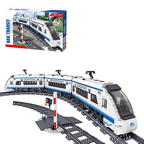 WEERUN Technic City Tren con Pista Set de Construcción, Juguete de Tren Eléctrico Maqueta de Juguete Tren de Pasajeros de Alta Velocidad, 941 Piezas Bloques - Compatible con Lego