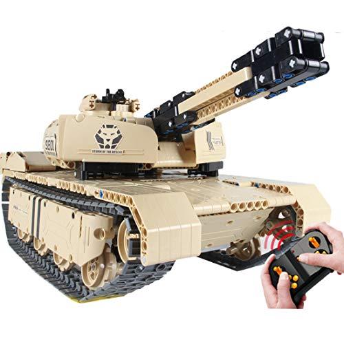 BGOOD Tanque de tecnología de control remoto con bloques de construcción, 1276 piezas, tanque militar RC WW2 con función de disparo, modelo para niños y adultos, compatible con Lego Technic