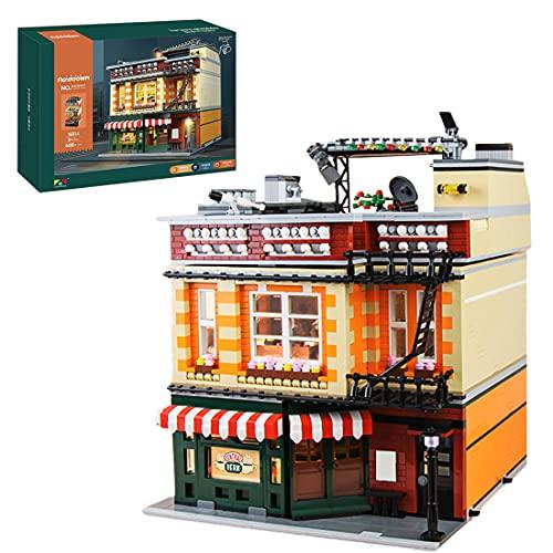 BGOOD Mould King 16014 Café, 4488 bloques de construcción para la casa de esquina, modular con iluminación, modelo compatible con Lego
