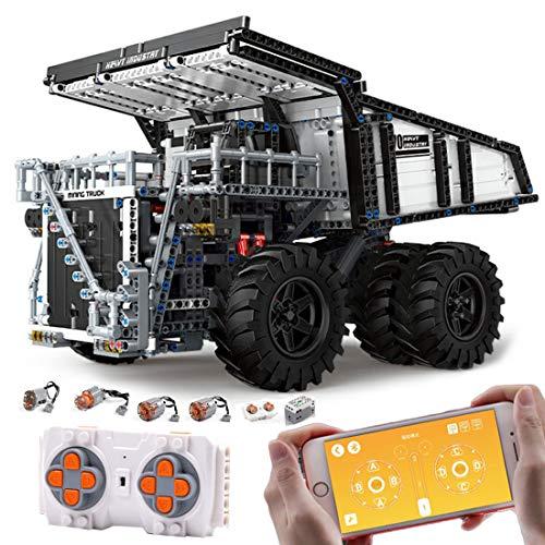 HYZM Technic - Bloques de construcción para camiones de volcado, 2044 piezas + 2.4 G Dual Control Remoto Vehículo de ingeniería, compatible con Lego