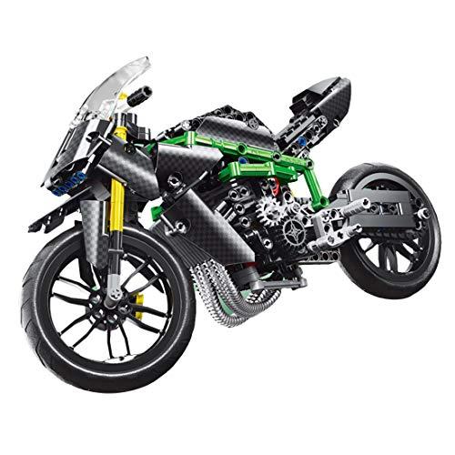 BGOOD Motocicleta técnica para Kawasaki H2R, 639 bloques de sujeción, juego de construcción compatible con Lego Technic