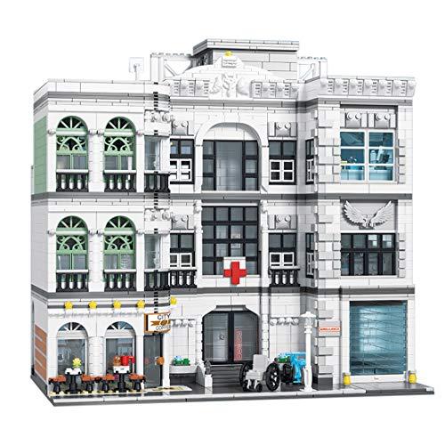 HYZM Architecture City Hospital, 4953 piezas Casa modular con luces LED, Kit de construcción compatible con Lego