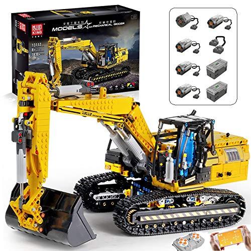 BGOOD Juego de construcción de piezas de ingeniería, 1830 bloques de construcción para coche, excavadora de orugas con mando a distancia con 6 motores y mando a distancia, compatible con Lego Technic